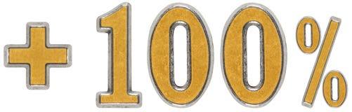 O por cento beneficia, mais 100 cem por cento, o isolado dos numerais Fotografia de Stock Royalty Free