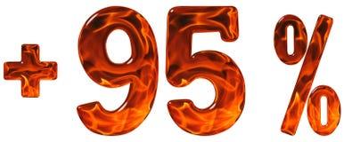 O por cento beneficia, mais 95, a noventa cinco por cento, isolado dos numerais Imagem de Stock