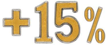 O por cento beneficia, mais 15 quinze por cento, os numerais isolados sobre Imagens de Stock