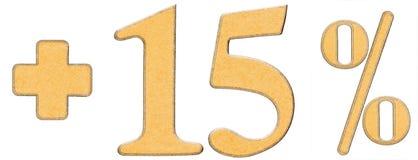 O por cento beneficia, mais 15 quinze por cento, os numerais isolados sobre Imagem de Stock Royalty Free