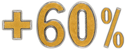 O por cento beneficia, mais 60 sessenta por cento, os numerais isolados no wh Fotografia de Stock Royalty Free