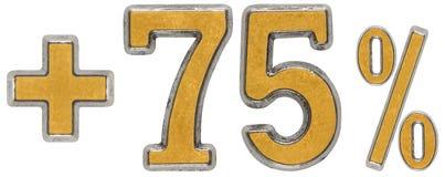 O por cento beneficia, mais 75 setenta cinco por cento, o isolado dos numerais Imagem de Stock Royalty Free