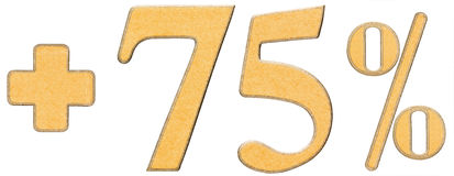 O por cento beneficia, mais 75 setenta cinco por cento, o isolado dos numerais Foto de Stock