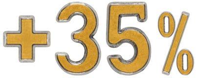 O por cento beneficia, mais 35 trinta e cinco por cento, os numerais isolados Fotografia de Stock