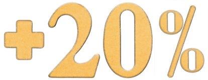 O por cento beneficia, mais 20 vinte por cento, os numerais isolados em w Imagem de Stock