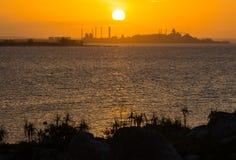 O por do sol bonito na península de NT, Austrália de Gove fotos de stock