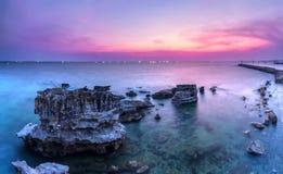 O por do sol colore a ilha de Phu Quoc Imagem de Stock