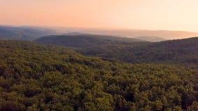 O por do sol colorido sobre montanhas da floresta ajardina na noite do verão filme
