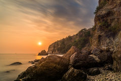 O por do sol do seascape Fotos de Stock Royalty Free