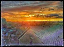 O por do sol em Kitchener Ontário que caracteriza o pão e a cooperativa das rosas dirige Fotografia de Stock