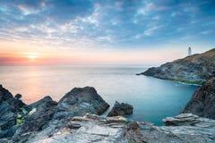 O por do sol em Trevose teve em Cornualha Foto de Stock Royalty Free