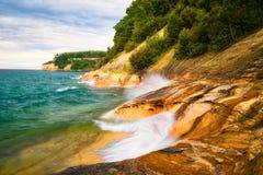 O por do sol, imagem balança o nacional Lakeshore, Michigan Imagens de Stock Royalty Free