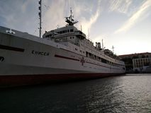 O por do sol do mar de Criema nubla-se a beleza bonita da viagem da recreação fotografia de stock royalty free