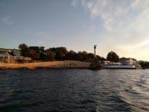 O por do sol do mar de Criema nubla-se a beleza bonita da viagem da recreação imagem de stock