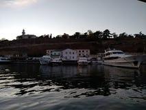O por do sol do mar de Criema nubla-se a beleza bonita da viagem da recreação imagem de stock royalty free