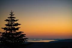 O por do sol na montanha azul negligencia Foto de Stock Royalty Free