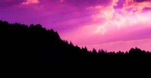 O por do sol nubla-se a foto com a silhueta da floresta do pinho no monte foto de stock