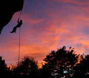 O por do sol Rappel Imagem de Stock