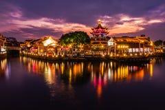 O por do sol do rio em Shan Tang Jie em Suzhou, China o 2 de junho, imagem de stock royalty free