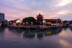 O por do sol do rio em Shan Tang Jie em Suzhou, China o 2 de junho, fotografia de stock