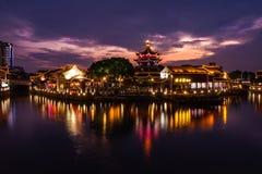 O por do sol do rio em Shan Tang Jie em Suzhou, China o 2 de junho, fotografia de stock royalty free