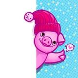 O porco é um símbolo de 2019 anos novos Cabeça do porco no estilo do pop art ilustração stock