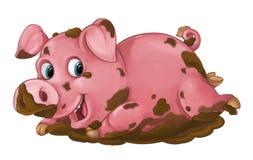 O porco feliz dos desenhos animados está jogando na lama - olhando e sorrindo - estilo artístico - isolado Fotografia de Stock Royalty Free