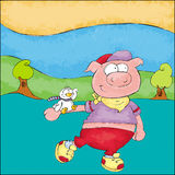 O porco pequeno anda no parque Imagens de Stock Royalty Free