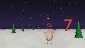 O porco pequeno corre ao ano novo ilustração stock