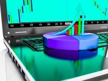 O portátil com gráfico de barra do crescimento do negócio ou de lucros, 3d rende Foto de Stock Royalty Free