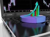 O portátil com gráfico de barra do crescimento do negócio ou de lucros, 3d rende Fotografia de Stock