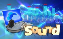 o portátil 3d e os fones de ouvido 'soam' o sinal ilustração royalty free