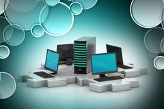 O portátil e o servidor conectam nos enigmas Imagem de Stock