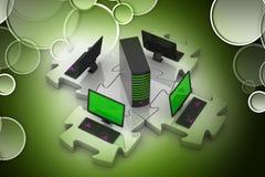 O portátil e o servidor conectam nos enigmas Fotografia de Stock Royalty Free