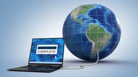 O portátil está transferindo arquivos pela rede o globo ilustração do vetor