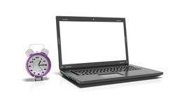 O portátil, o copo do thea quente e o despertador, 3d rendem Imagem de Stock Royalty Free