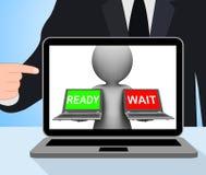 O portátil pronto da espera indica preparado e esperar Imagem de Stock