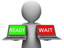O portátil pronto da espera significa preparado e esperar Imagens de Stock