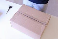 O portador verifica as caixas embaladas, seladas com a fita por todos os lados, volta Foto de Stock