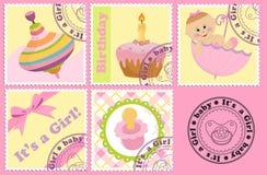 O porte postal do bebê marca e carimba Foto de Stock Royalty Free