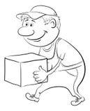 O porteiro leva uma caixa, esboço Imagens de Stock
