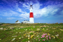 O Portland Bill Lighthouse na ilha de Portland Fotografia de Stock