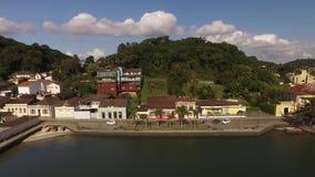 O porto da vista aérea de Sao Francisco faz a cidade do sul Santa Catarina Em julho de 2017 vídeos de arquivo