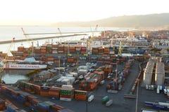 O porto de Genoa Panorama de Lanterna, o farol velho Genebra Camogli, Italy fotos de stock royalty free