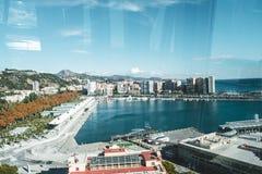 O porto de Malaga durante novembro imagem de stock