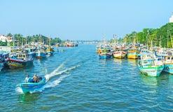 O porto de pesca de Negombo Imagens de Stock Royalty Free