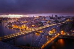 O Porto em a noite Imagem de Stock