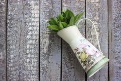 O potenciômetro de flor encheu-se com as folhas prudentes no fundo de madeira Imagem de Stock