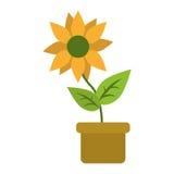 O potenciômetro de flor sae da natureza do jardim ilustração stock
