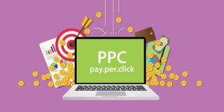 O Ppc paga pela ilustração do negócio do clique com a moeda do dinheiro do ouro que cai para baixo do céu com objetivos do alvo e Imagens de Stock